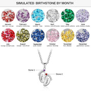 Personalized Baby Feet Necklace with Birthstones