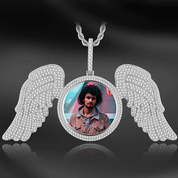 Custom Made Picture Pendant  Medallions Necklace With Angel Wing