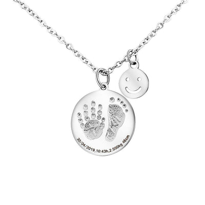Personalized Baby Footprints Mom Necklace