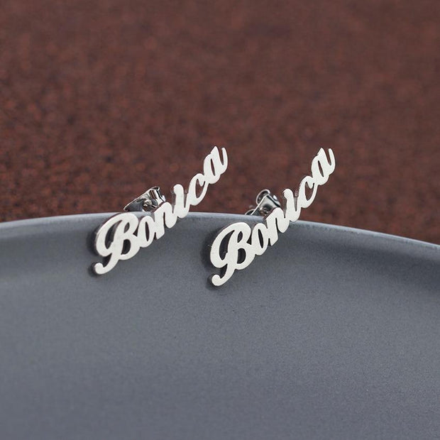 Rose Gold Custom Name Initial Cursive Nameplate Stud Earring For Women