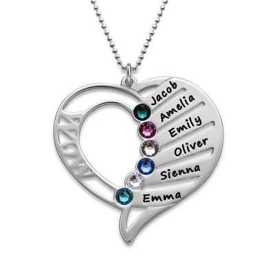 Mom Heart Necklace with Kids Names 925 Sterling Silver