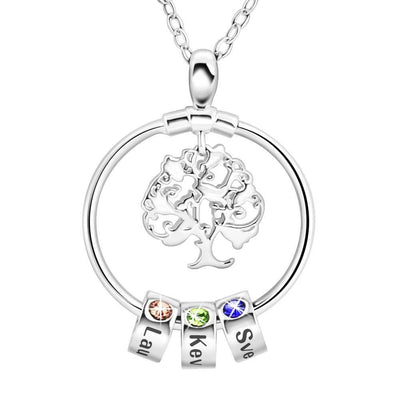 Personalized Family Tree Birthstones Necklace With Children's Names