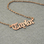 Personalized 18K Gold Plated Name Necklace, Old English Font With Curb Chain