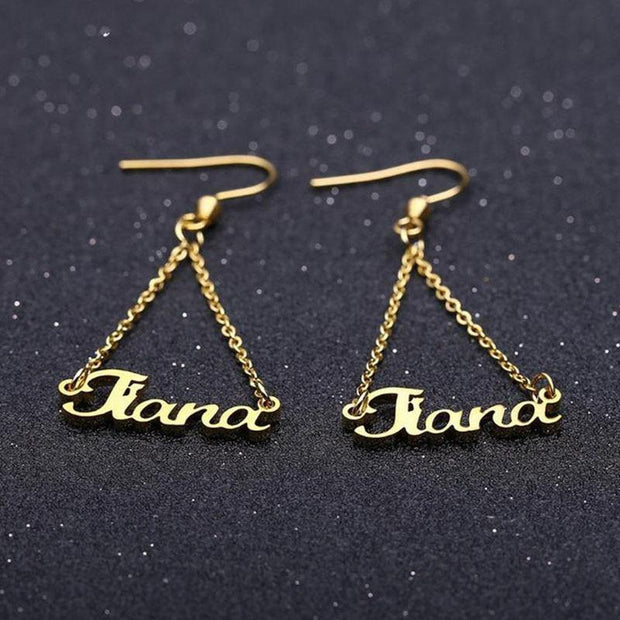 Personalized Double Linked Chain Name Earrings