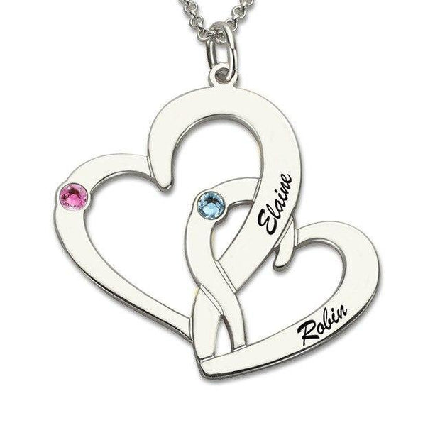 Customized Heart Necklace With Birthstones