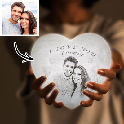 Products Gift for Her 3D Printed Photo Heart Lamp Personalized Night Light