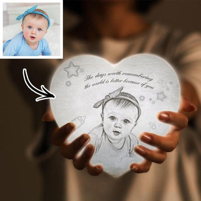 Photo Moon Lamp Custom 3D Photo Light Lamp Moon Heart Shape For Baby