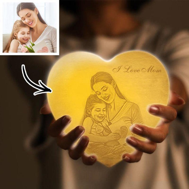 3D Printed Photo Heart Lamp Personalized Night Light Gifts for Her