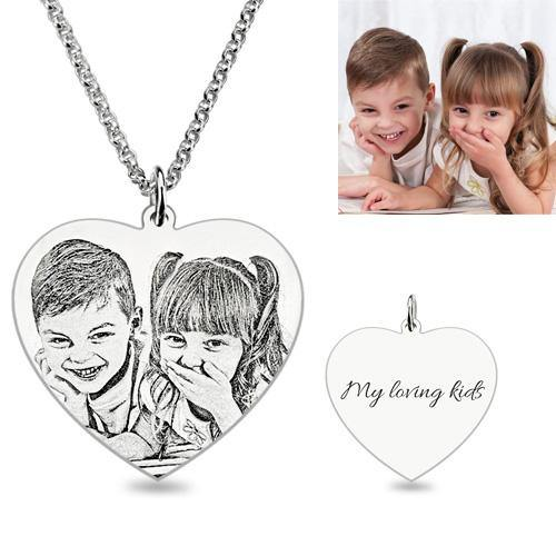Engraved Heart Photo Pendant Necklace