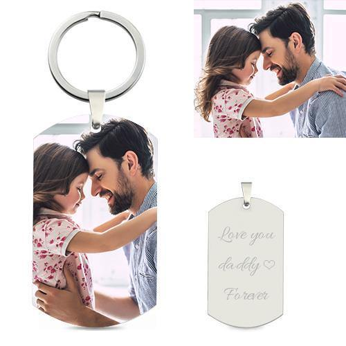 Personalized Photo Engraved Sterling Silver Keychain For Him