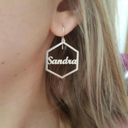Personalized Hexagon Name Earring