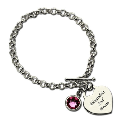 Heart Charm Bracelet with Birthstone & Name Sterling Silver
