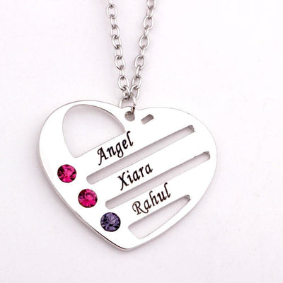 Personalized Mother's Heart Necklace with 3 Birthstones & Names