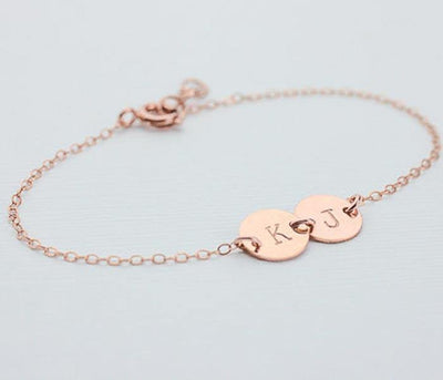 Personalized Two discs Initals Pendant Bracelet Rose Golden