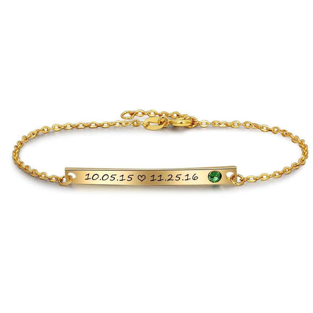 Engraved Bar Bracelet with Personalized Birthstone