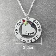 Circle Heart Pendant Necklace With Engraved Names