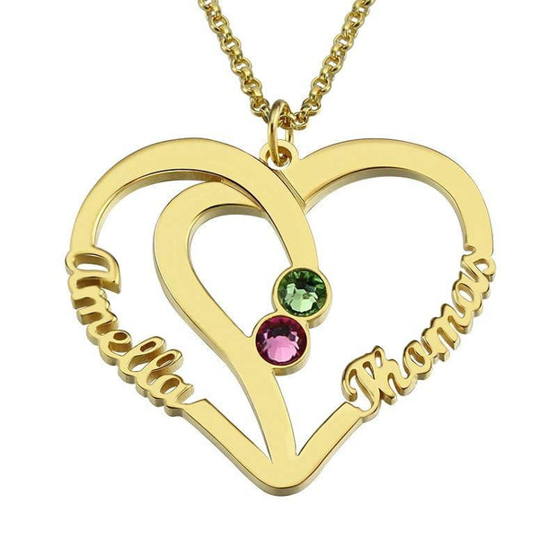 Couples Name Necklace With Birthstones