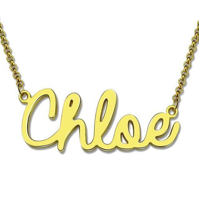 18k gold necklace with name in cursive