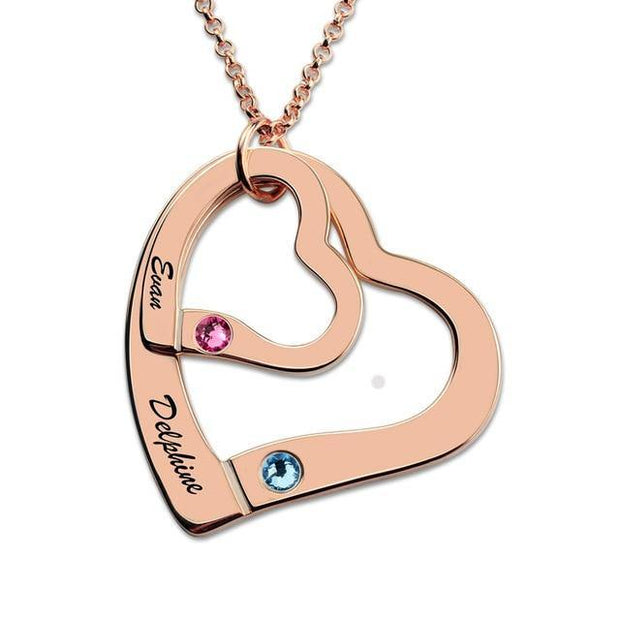 Double Heart Necklace with Birthstones