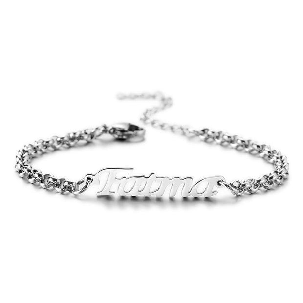 Custom Name Bracelet 18K Gold for Her, Sterling silver | Anniversary Gift