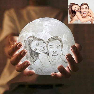 Customized 3D Photo Printed Moon Light Valentine Gift, USB Charger