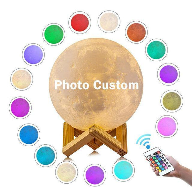 Personalized Photo 3D Printing Moon Light Night Lamp With USB Charger, Valentines Day Gifts -16 Color