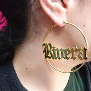 Custom Name Earrings- Old English Font Big Circle Earrings