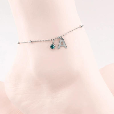 Personalized  Anklet Bracelet Initial Name Alphabet with Brishtone