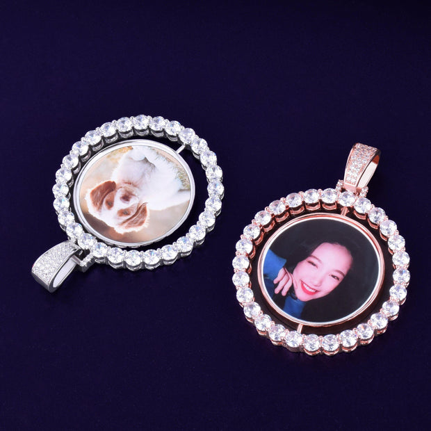 Custom Made Photo Rotating double-sided Medallions Pendant Necklace