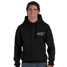Our thickest hoodie at 12 ounces. This black hoody with front pouch has chest and back embroidery.