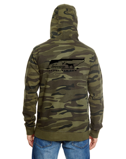 Our zip up camo unisex hoodie with black embroidery on the chest and back.