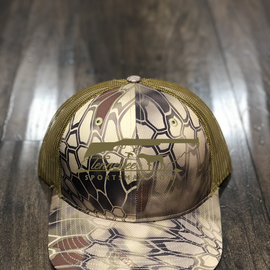 Our shell camo trucker hat with matching embroidery.