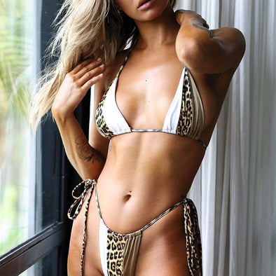 Leopard High cut bikini set