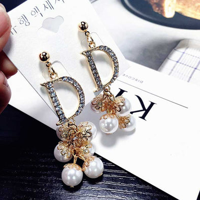 Rhinestone DD Letter Earrings