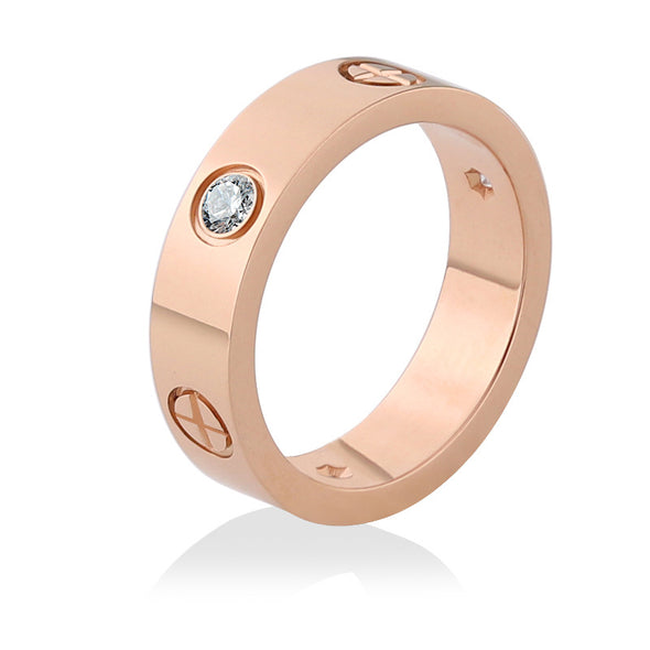 Crystal Gold Stainless Steel Ring