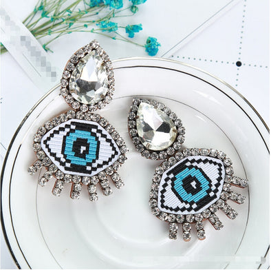 Evil Eye Crystal Embroidery Rhinestone Earrings