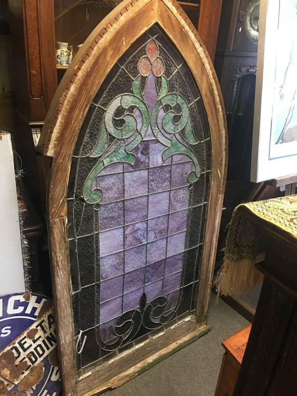 Antique Stained Glass Pair Church Windows