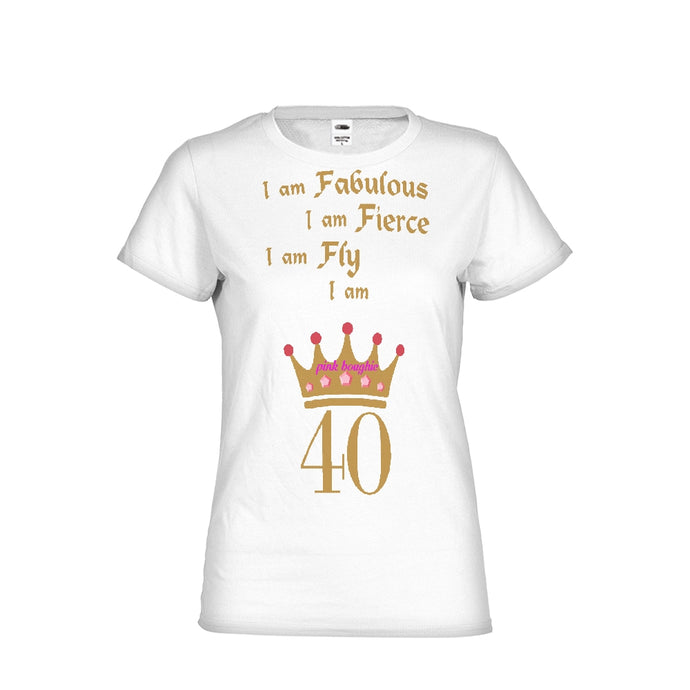 Pink Boughie 40, Fab, Fly and Fierce  Women's Tee