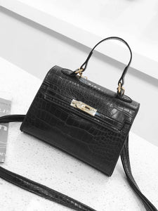 Croc Embossed Luxury  Top Handle Handbag