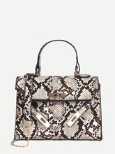 Load image into Gallery viewer, Luxury Top Handle Snakeskin PU Satchel Bag