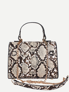 Luxury Top Handle Snakeskin PU Satchel Bag