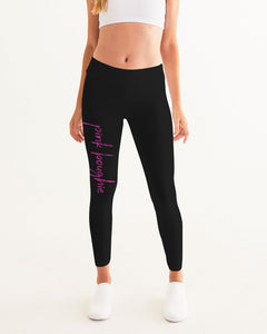Pink Boughie Signature Cursive- Black Yoga Pants for Women