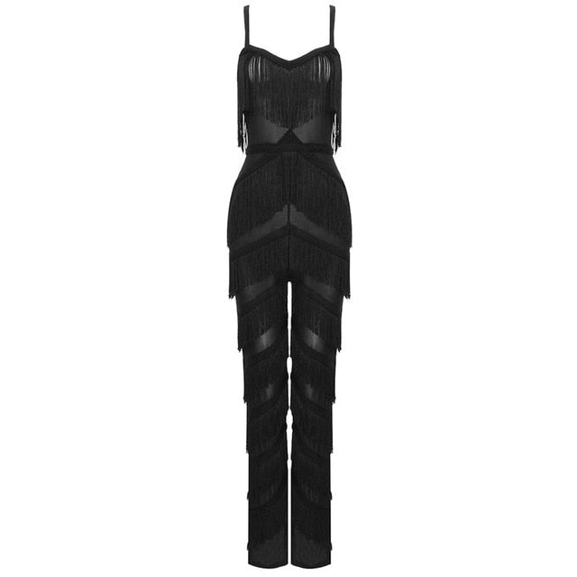 Fashion week Runway Spaghetti Strap V Neck Tassel Jumpsuit