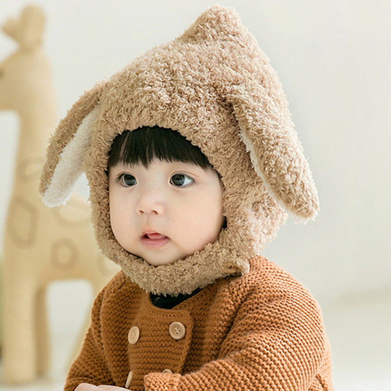 Baby ear protection plush rabbit ear knitted hat