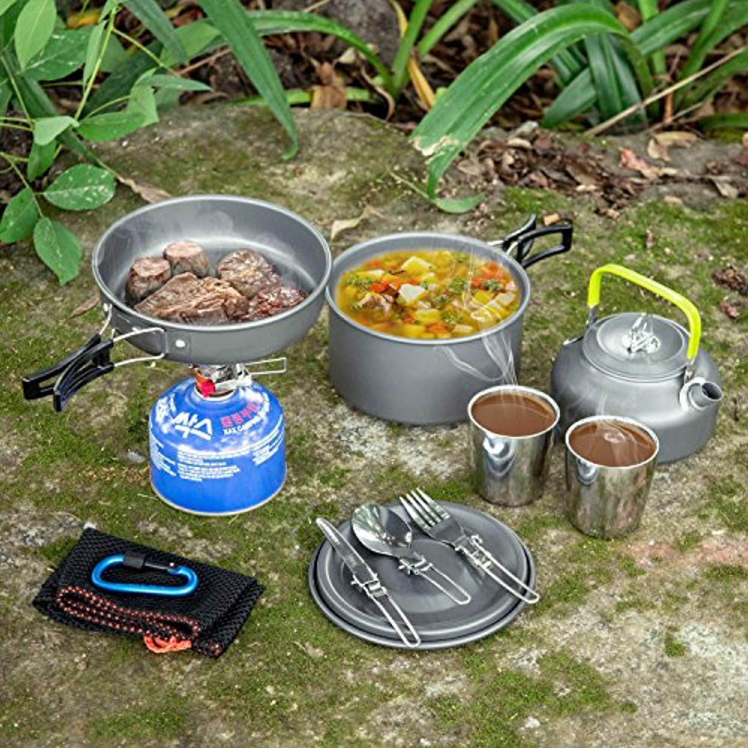 Camping Cookware Mess Kit, Lightweight Pot Pan Kettle with 2 Cups