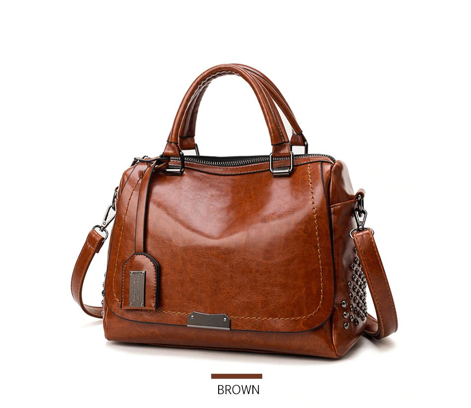 Studded Large-Capacity Three-Purpose Bright Leather Boston Bag