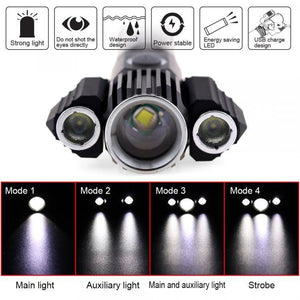 USB Rechargeable Waterproof LED Flashlight with 3 Heads
