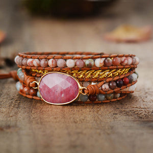 LOVE & HAPPINESS Natural Rhodonite Stone Bracelet