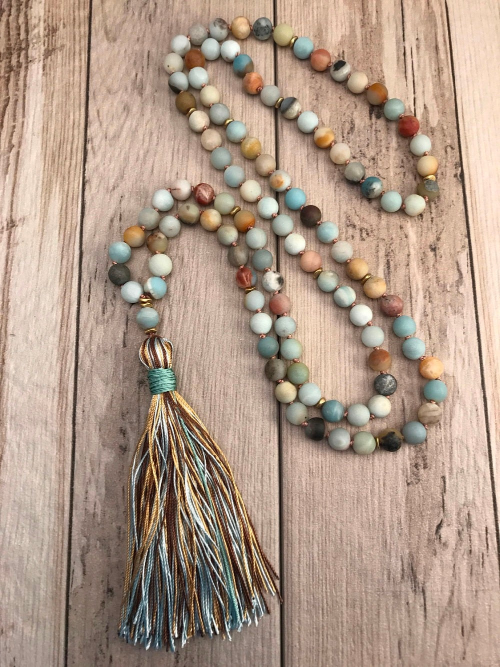 Abundance 108 Matte Amazonite Bead Necklace