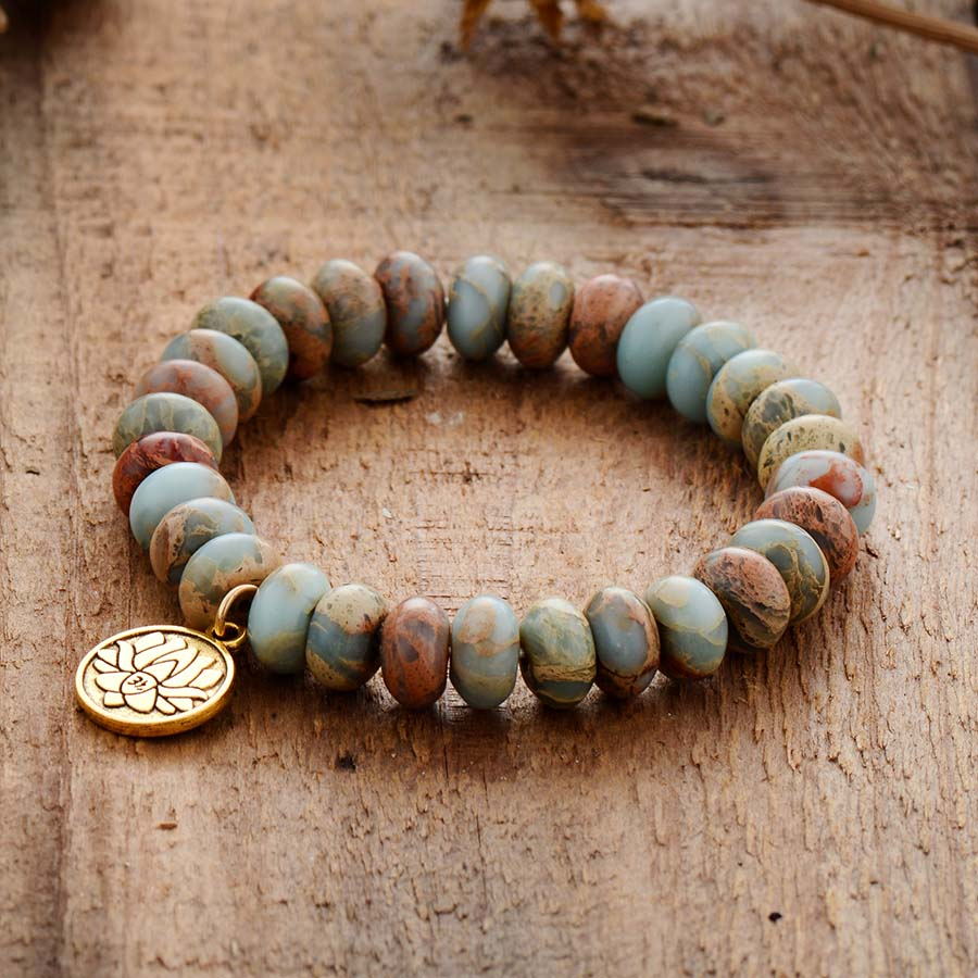 Royal Jasper Lotus Flower Bracelet